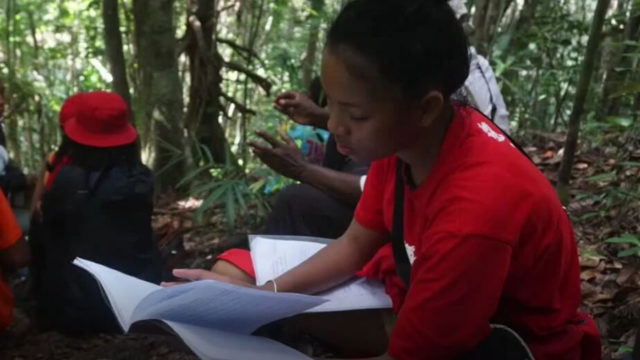 A Malagasy student from LCF's film about a class field trip to the rainforest