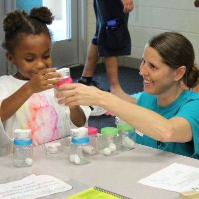 LCF Executive Director Dr. Alison Grand participating in an LCF K-5 conservation education program